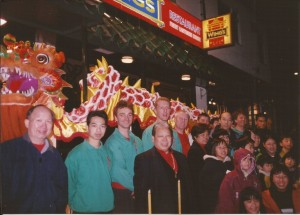 Dragon Dance team with Master Chu at Wings Restaurant